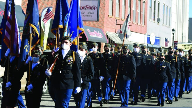 Students from the Leavenworth High School Junior ROTC program march in the Leavenworth County Veterans Day Parade. The parade took place Wednesday in downtown Leavenworth.