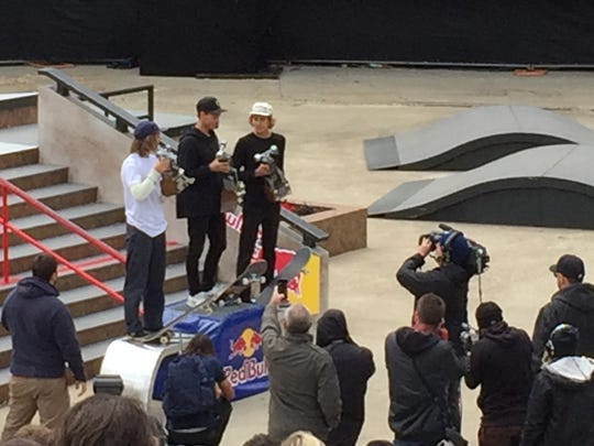 Left to right on the Hart Plaza podium in Detroit: Axel Cruysberghs (third), Nyjah Huston (first), Curren Caples (second).  It was the second annual Red Bull Hart Lines, finishing Sunday, May 15, 2016.