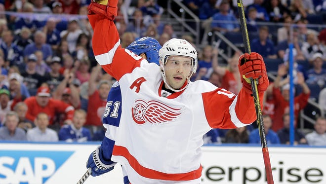 Detroit Red Wings center Pavel Datsyuk celebrates his first of two goals against the Tampa Bay Lightning in Game 1 of their playoff series on April 16, 2015, in Tampa, Fla. Datsyuk has three points against the Lightning through the first three games of the series.
