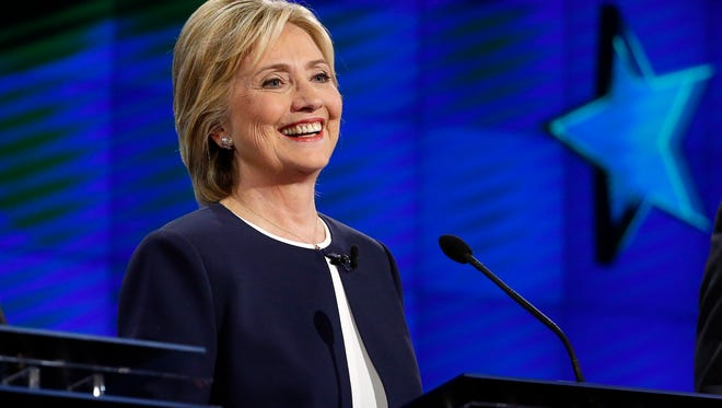 Hillary Rodham Clinton appears during the CNN Democratic presidential debate Tuesday, Oct. 13, 2015, in Las Vegas.