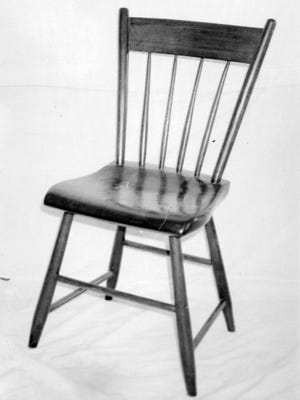 The first chair produced in Sheboygan County by Falls' resident, Darius Leavens. 1848.