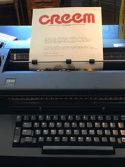A reproduction of CREEM letterhead in an IBM typewriter