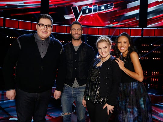 "At the Live FInals Results Show of ""The Voice,"" Team Adam - (l-r) Jordan Smith, Adam Levine, Shelby Brown, Amy Vachal - gathers to celebrate all three members making it to the Top 11."