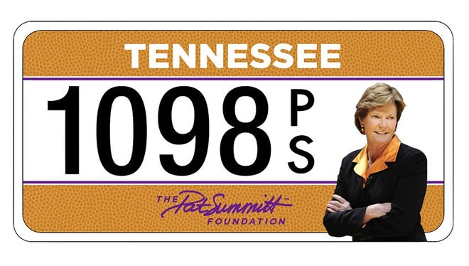 An image of the Pat Summitt Foundation's specialty license plate.