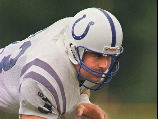 Kirk Lowdermilk works out during practice at training camp in Anderson in 1996.