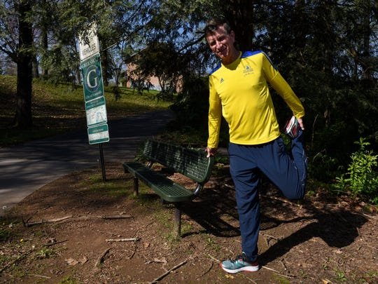 Richard Greve, a Knoxville pastor, will run in his third Boston Marathon on April 16 and trains along the greenway trails near Sequoyah Hills on Kingston Pike Thursday, April 12, 2018.
