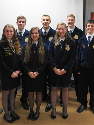 Columbus FFA officers with State FFA Sentinel Sam Jesse at the FFA Fall Open House.  Pictured (from left) Abbygail Hayes, Steven Taylor, Hailey Schoenherr, Sam Jesse, Lacey Schleicher, Kyle Paulson, and Garret Baerwolf.