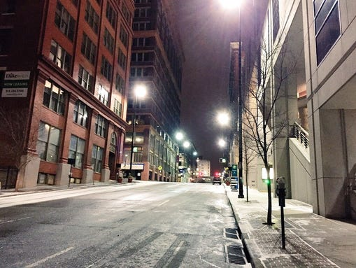Snow was mostly clear from Downtown streets Tuesday morning. This is a