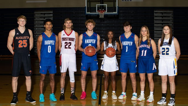 2020 Preseason Basketball All-County selections (L-R): Ely Wilcox, Augusta; Isaiah Maikori, Andover; Hunter Lowmaster, Flinthills; Jack Johnson, Andover; Kimalee Cook, Circle; Kaleb Gaddis, Andover; Mallory Woolston, Andover; Lauren Donner, Bluestem. (NOT PICTURED: Brittany Harshaw, Andover Central; Bailey Wilborn, Andoer Central
