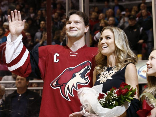 Shane Doan was honored during a pregame ceremony for