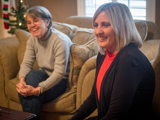 Christine Voisin, left, and Betsy James on Monday,