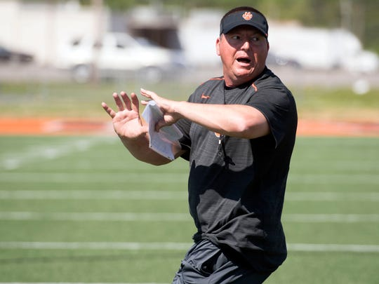Powell football coach Matt Lowe during practice on