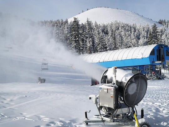 A snow gun shoots powder onto Mount Bachelor in Central Oregon