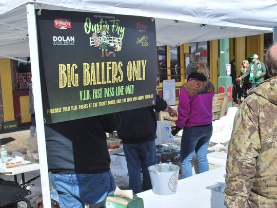 The V.I.P. line for Big Ballers at the 27th annual Rocky Mountain Oyster Fry March 17 in Virginia City.