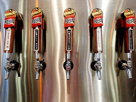 The taps at Red River Brewing.