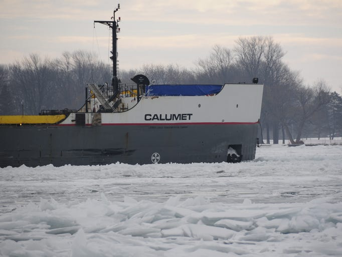 The Calumet pushes south through ice on the St. Clair