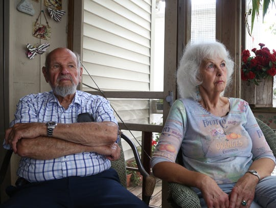 Jack, 87, and Sandy Davis, 72, of Clear Lake, sit on