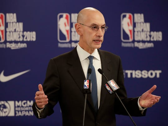 NBA commissioner Adam Silver speaks at a news conference before an NBA preseason basketball game between the Houston Rockets and the Toronto Raptors in Saitama, near Tokyo
