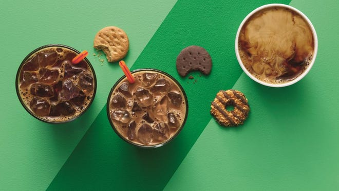 Dunkin' Donut stores will be selling Girl Scout cookie inspired coffee flavors through May.