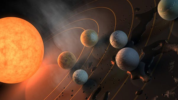 NASA's latest exoplanet discoveries include seven earth-sized planets closely orbiting a red dwarf star called TRAPPIST-1, 39 light-years away.