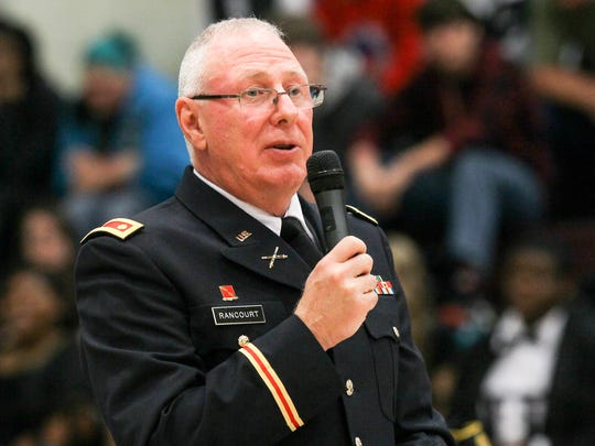 Maj. Daniel Rancourt, of the Westside Army JROTC program, delivers the keynote speech during the Parade of Honor Veterans Day program on Thursday, November 10, 2016 at Westside High School in Anderson, South Carolina.