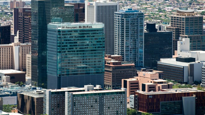 An aerial view of  downtown Phoenix on July 21, 2016.
