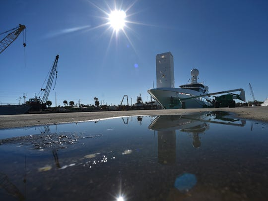 The yacht Double Down remains at the Port of Fort Pierce