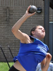 Hendrick Hudson's Alexandra Lenz prepares to release the shot put during the Class B Championships.