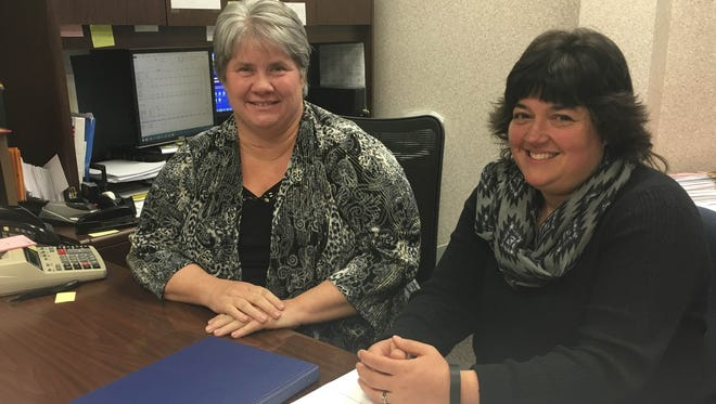 Cheryl Dominich (right) is taking over as treasurer of Delaware Community Schools later this month following Tarinna Morris' (left) resignation.