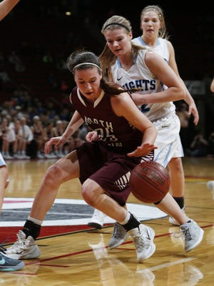 North Linn's Nicole Miller, left, tries to keep control of the ball during last week's state tournament.