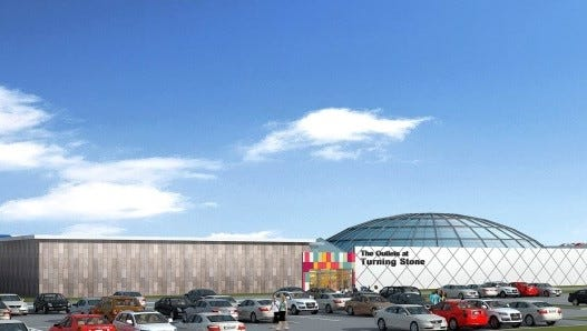 An artist's rendering of the planned $100 million retail outlet at Turning Stone.