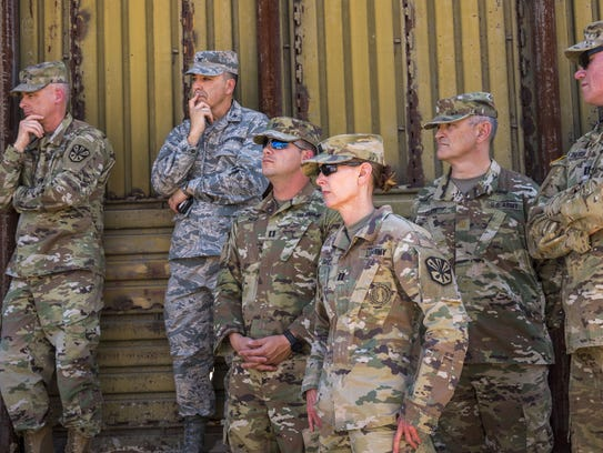 National Guard troops during the visit by Secretary