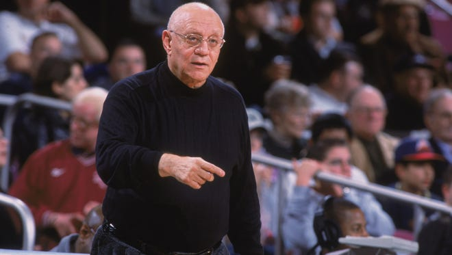 Jerry Tarkanian of the Fresno State Bulldogs gives instructions to his team against the Michigan State Spartans during a game in 2001 at Madison Square Garden in New York.
