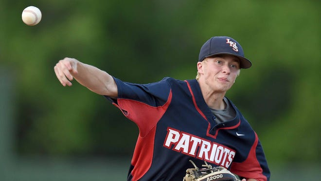 Lewisburg's Cooper Smith pitches against Ridgeland on Friday, May 11, 2018, in game two of the MHSAA Class 5A North State Baseball Championship at Ridgeland High School in Ridgeland, Miss.