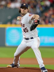 Gerrit Cole leads the AL with 101 strikeouts, in 67