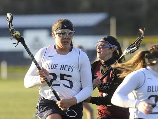 Granville senior Jaclen Moxley controls the ball in a lacrosse match against Columbus Academy earlier in the season.