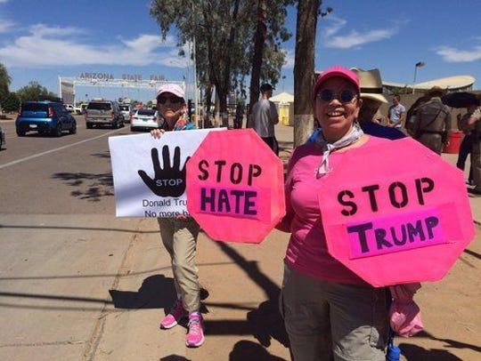 Code Pink demonstrators Edwina Vogan and Virginia Hauflaire