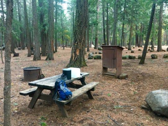 A campsite at McArthur-Burney Falls Memorial State Park in Burney, Calif.
