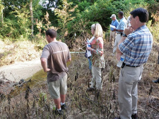 Members of the COG on tour of future constructed wetlands
