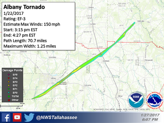 The Albany tornado cut a swatch of destruction more than 70 miles long.