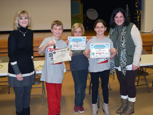 Friendship Elementary students in grades 4-6 recently participated in the National Geographic Bee. Pictured are, from left,  Lisa Boyer, assistant principal; students Theodore Hill, Grade 5, first place, Lachlan Gemmill-Edwards, Grade 4, second place, and MacKenzie Dryden, Grade 5, third place; and Beth Koontz, principal.