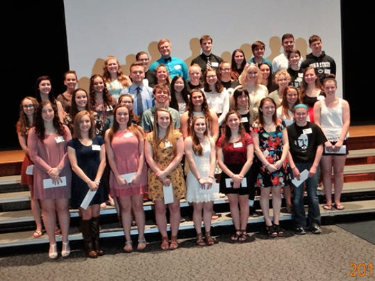 The South Eastern Dollars for Scholars awarded 50 scholarships to members of the Kennard-Dale High School Class of 2017 at an awards ceremony on May 16. The total amount awarded was $67,650. Pictured at the event are, first row, Kristen Kandeel, Rebecca Dunphy, Brooke Powers, Sophia Martonick, Kennedy Thompson, Josie McKnight, Megan Barlow and Hallie Fromm; second row, Abigail Crosby, Casey Nelson, Alena Maldonado, Seth Seabolt, Renee Gering, Mya Soukaseum, Maris Allen and Kristen Stewart; third row, Savannah Broadway, Candace Boyle, Grace Dorsey, Chance Shipley, Bailee Wenckus, Claire Glackin, Sophia Swoboda, Gillian DeWit and Lauren Johnson; fourth row, McKenzie Lane, Elizabeth Graham, Alexia Morgan, Megan Gereny and Samantha Carter; and back row, Taylor DiPangrazio, Jessica Rubelmann, Skyler Himmel-Maines, Andrew Bartkowski, Chloe Stewart, Alexander Bullen, Benjamin Lowe and Mark Hushon.