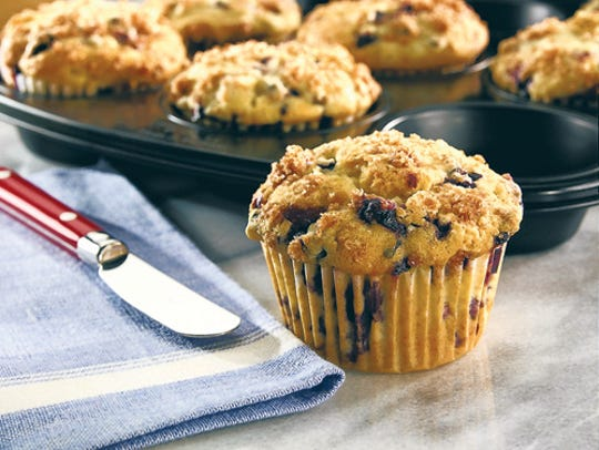 Blueberry muffins with a streusel topping.