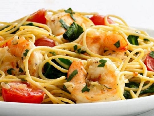 Garlic shrimp pasta from Simply Delicious Dinners.