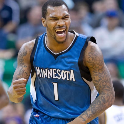 Then-Minnesota Timberwolves guard Sean Kilpatrick reacts during a game against Utah in March.