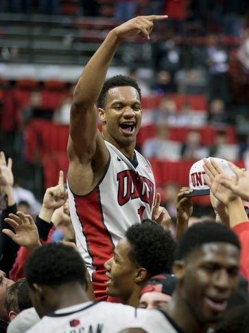 UNLV guard Rashad Vaughn celebrates a after defeating