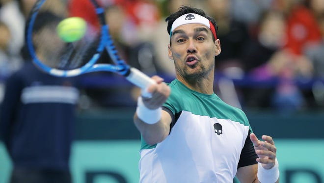 Italy's Fabio Fognini, here playing during the Davis Cup, had an amazing play at the Rio Open on Tuesday.