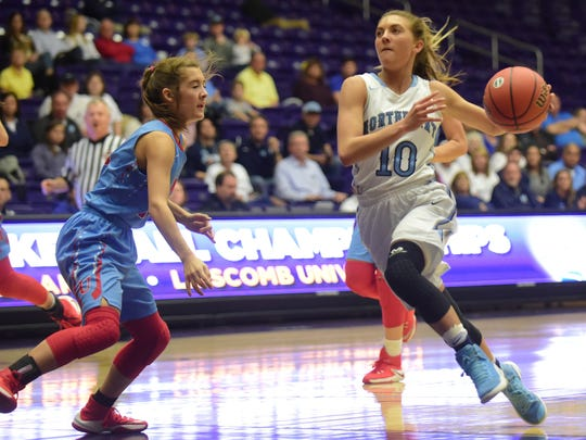 Former Northpoint star Ashtyn Baker (right) led Big South Conference freshmen in scoring, assists and steals this year.