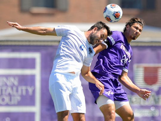 Fort Wayne's Thilo Körperich (6) and University of Evansville's Jared Robinson (24) jump for the ball during the ProRehab Aces Soccer Classic at Arad McCutchan Stadium, Sunday, Sept. 11, 2016. UE beat Fort Wayne 3-1.