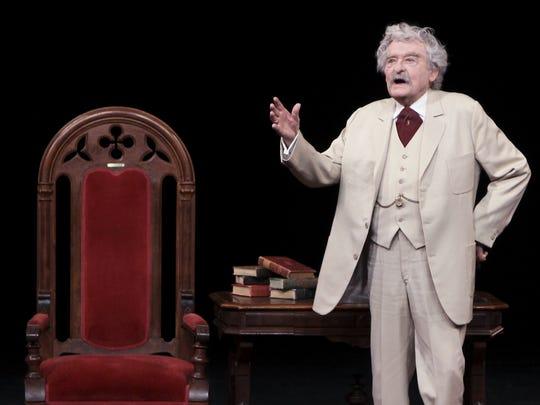 "Hal Holbrook performed as Samuel Clemens in ""Mark Twain"